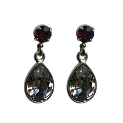 Flow Jewels oorbel 14303 zilver-donker grijs