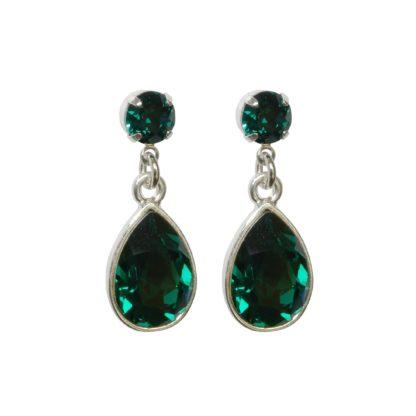 Flow Jewels oorbel 14303 zilver donker groen