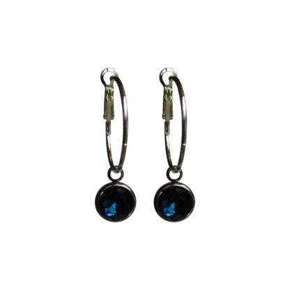 Flow Jewels oorbel 18334 zilver-donker blauw