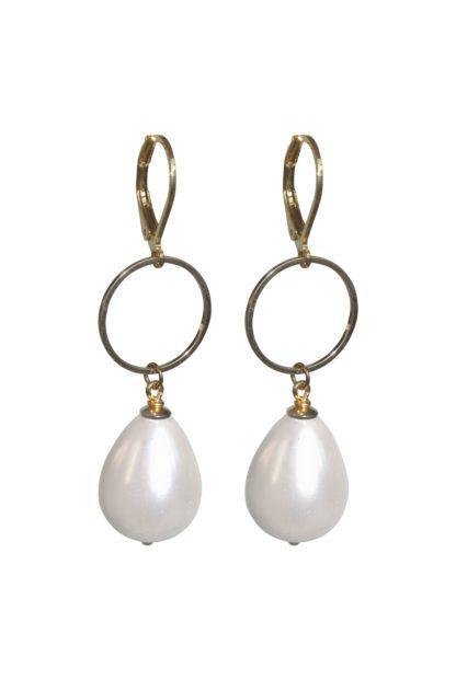 Flow Jewels oorbel 18346 goud wit