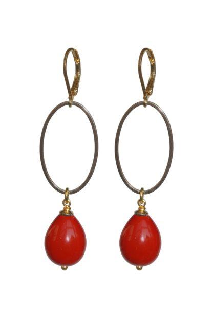 Flow Jewels oorbel 18347 goud rood