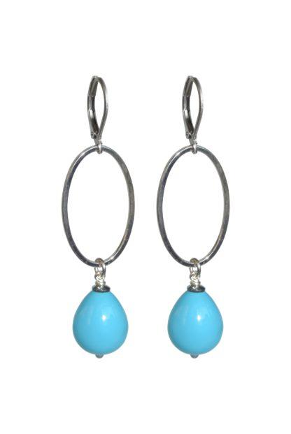 Flow Jewels oorbel 18347 zilver blauw