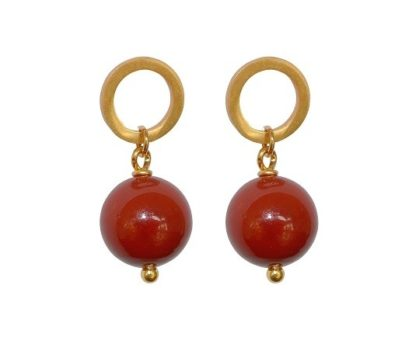 flow jewels oorbel 19326 goud rood