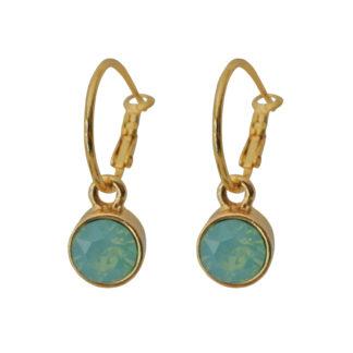 FlowJewels oorbellen goud -turquoise opaal