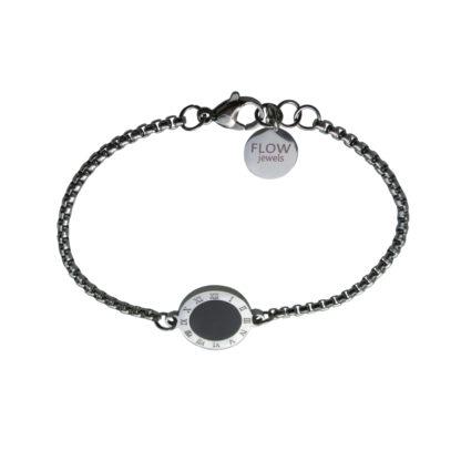 Flow Jewels armband zilver-zwart