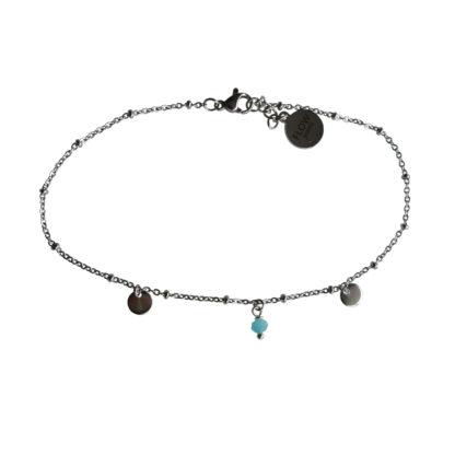 Flow Jewels enkelbandje zilver turquoise opaal