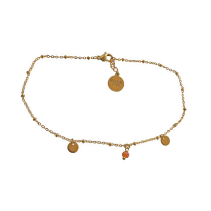 Flow Jewels enkelbandje goud oranje opaal