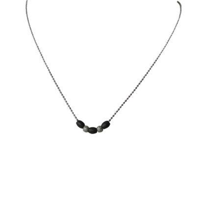 Flow Jewels ketting zilver-zwart