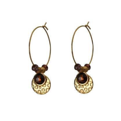 Flow Jewels oorbellen goud-bruin