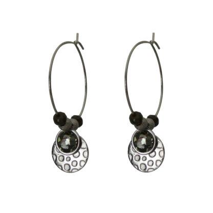 Flow Jewels oorbellen zilver-donkergrijs