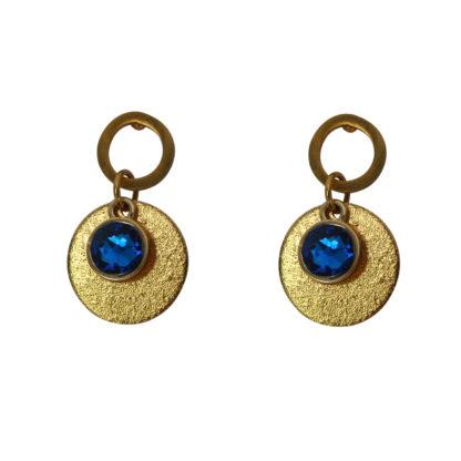 Flow Jewels oorbellen goud-kobalt