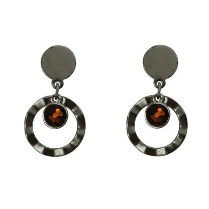 Flow Jewels oorbellen zilver-bruin