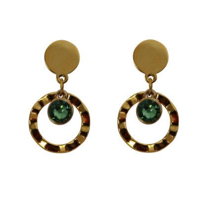 Flow Jewels oorbellen goud-groen
