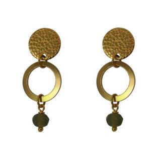 Flow Jewels oorbellen goud-khaki opaal