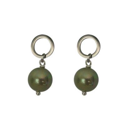 Flow Jewels oorbel 19326 zilver-army groen