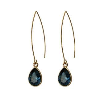 Flow Jewels oorbellen goud-donkerblauw