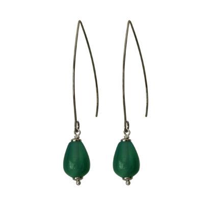 Flow Jewels oorbellen zilver-groen