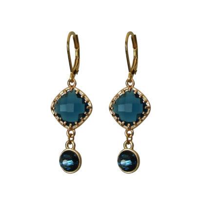 Flow Jewels oorbellen goud-blauw
