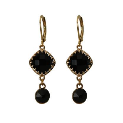 Flow Jewels oorbellen goud-zwart