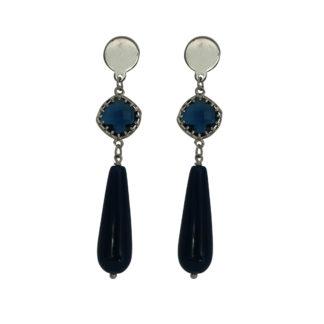 Flow Jewels oorbellen zilver-blauw