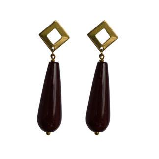 Flow Jewels oorbellen goud-donker rood