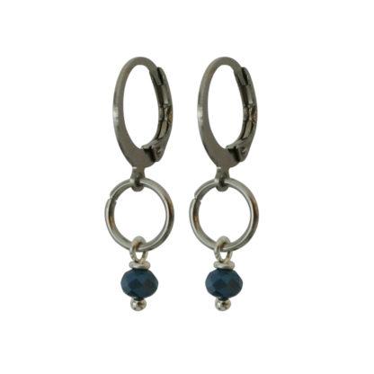Flow Jewels oorbellen zilver jeans blauw