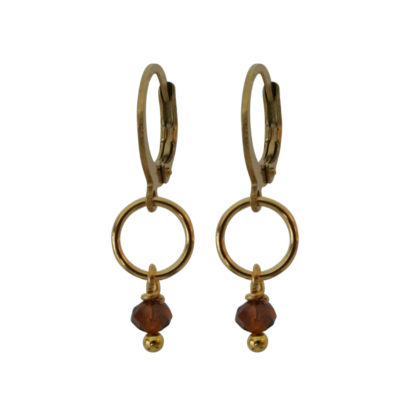 Flow Jewels oorbellen goud bruin