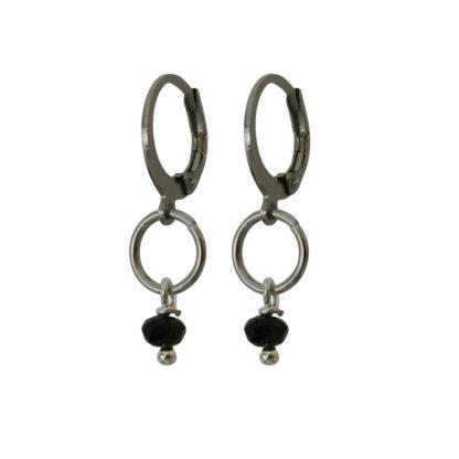 Flow Jewels oorbellen zilver zwart