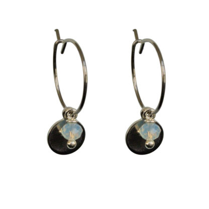 FlowJewels oorbellen zilver-wit opaal