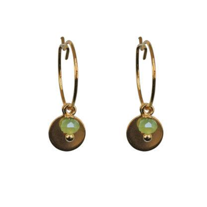 FlowJewels oorbellen goud-groen opaal