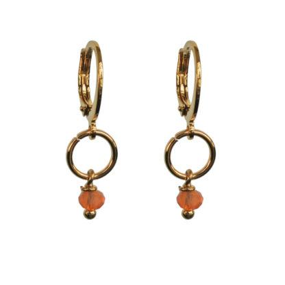 FlowJewels oorbellen goud-oranje opaal