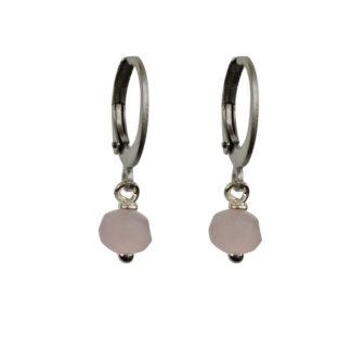FlowJewels oorbellen zilver-lichtroze opaal