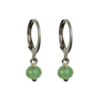 FlowJewels oorbellen zilver-groen opaal