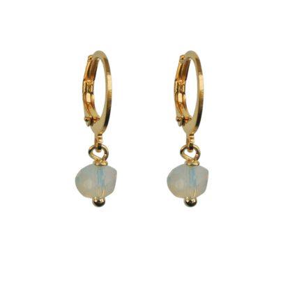 FlowJewels oorbellen goud-wit opaal