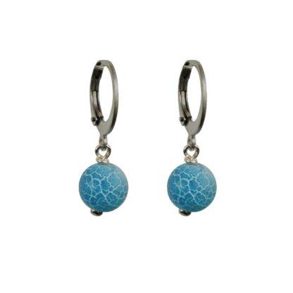 FlowJewels oorbellen zilver-blauw