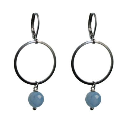 FlowJewels oorbellen zilver-lichtblauw opaal