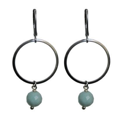 FlowJewels oorbellen zilver-lichtgroen opaal
