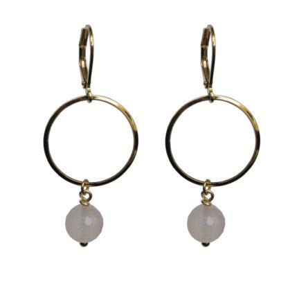 FlowJewels oorbellen goud-lichtroze opaal
