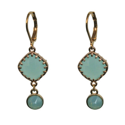 FlowJewels oorbellen goud-turquoise opaal