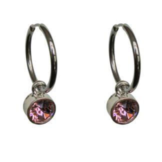 FlowJewels oorbellen zilver-roze