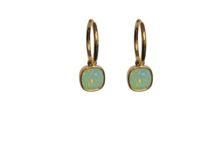 FlowJewels oorbellen goud-lichtgroen opaal