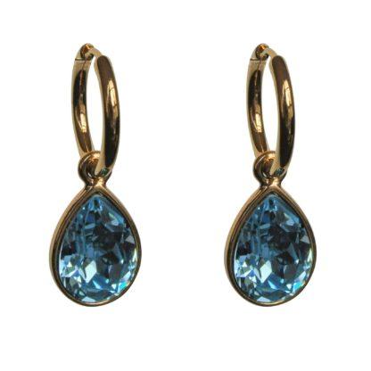 FlowJewels oorbellen goud-aquamarine