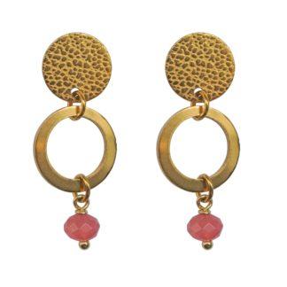 FlowJewels oorbellen goud-donker roze