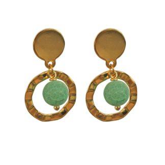 FlowJewels oorbellen goud-groen