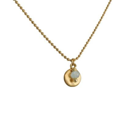 FlowJewels ketting goud-lichtblauw opaal