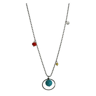 FlowJewels ketting zilver-turquoise