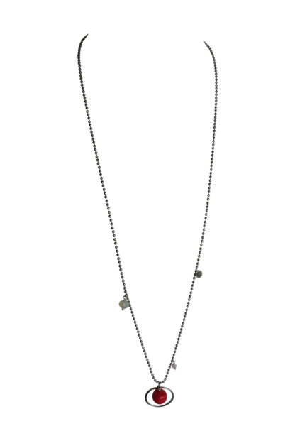 FlowJewels ketting zilver-fucsia