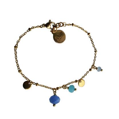 FlowJewels armband goud-blauw