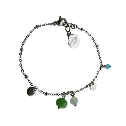 FlowJewels armband zilver-groen