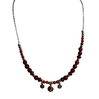 FlowJewels ketting zilver - rood